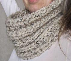 Chunky Rib Knit Cowl Neckwarmer Scarf / PERFECT LITTLE TWIST /  by SpruceinWinter on Etsy