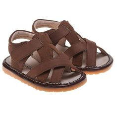 Little Blue Lamb Toddler / Infant Boys Squeaky Sandals / Shoes - Brown