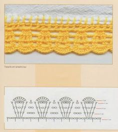 As Receitas de Crochê: Vários Bicos em Crochê Crochet Boarders, Crochet Lace Edging, Crochet Motifs, Crochet Diagram, Crochet Chart, Thread Crochet, Crochet Trim, Crochet Doilies, Easy Crochet