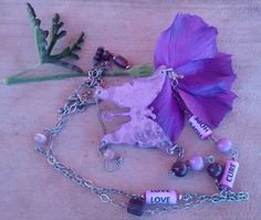 Sentiment necklace with handcrafted paper mache by Jholei246
