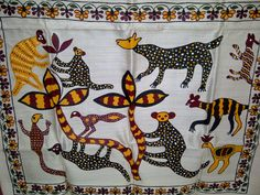 76x24 Cream Indian Tussar Silk Scarf Hand Painted Jungle Long Scarf (J14526). $27.99, via Etsy.