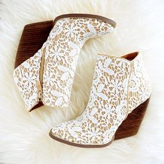 White Lace Ankle Boots #boots