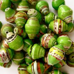 paper beads...I used to make these...need to do some for a narrow window I have...