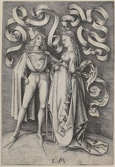 De ridder en de dame, Israhel van Meckenem, 1490  #publicdomain