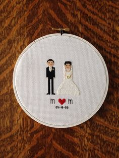 Bride and Groom Wedding Cross Stitch Custom by AStitchingGoodTime, $25.00