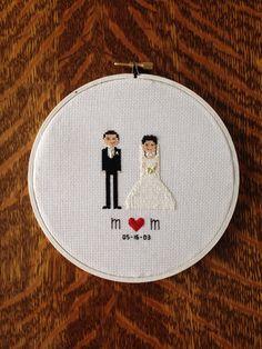 Bride and Groom Wedding Cross Stitch Custom by AStitchingGoodTime, $25.00