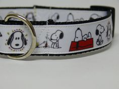 Snoopy Dog Collar by PolkaDotTails on Etsy, $10.00. Made from high quality heavy nylon webbing and grosgrain ribbon. Ready to ship in Med/Large adjustable 15-20 inches. Convo me for a custom size. 1 inch wide. Convo me for a custom size. 10% of all Sales benefit Animal Rescues!