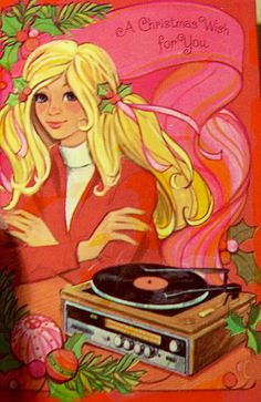 Groovy girl playing records at Christmas.