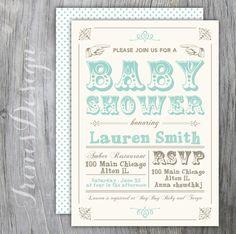 Green blue typography baby boy shower invitation by irinisdesign
