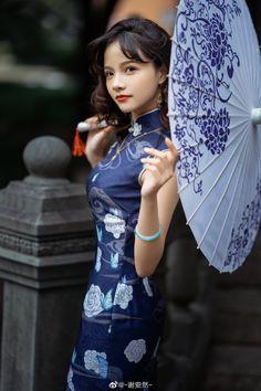 Chinese Gown, Oriental Dress, China Girl, Cheongsam, Blouse Dress, Ao Dai, Chinese Style, Blue Fashion, Asian Beauty