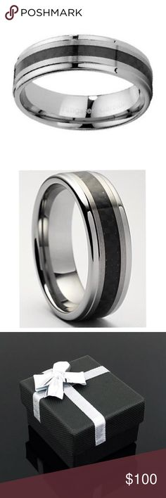 "Tuscano Tungsten Carbon Fiber Ring Perfect for a men's engagement or wedding ring  Hand engraved with ""I love you forever & always"" in the band   8mm Tuscano style has black carbon fiber in the middle with both sides brushed on the sides  It then has highly polished rounded edges to pull the entire style together  This tungsten ring is comfort fit contoured on the inner surface for a more comfortable fit  Completely hypoallergenic, tungsten carbide rings will never turn your finger green or…"