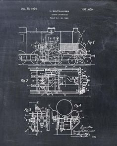 Steam Locomotive Patent Print  Steam Engine Patent by VisualDesign