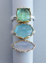 Tourmaline, aquamarine and blue chalcedony hand pierced rings