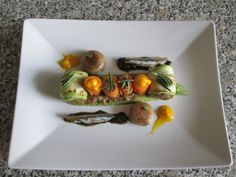JHS / Zucchine  carote  e champignons  con acciughe e  tapenade  Gino D'Aquino
