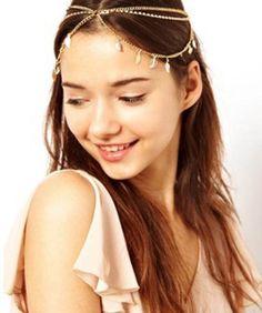 Amazon.com: Bohemian Head Chain Headpiece Hip Hop Headchain Bride Head Ornament (Gold Tone): Jewelry