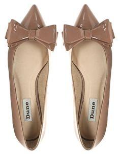 Dune Lavish Patent Bow Pointed Flat Shoes