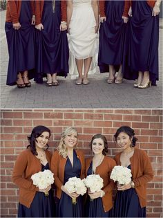 navy dresses with bronze, gold, or maybe nude shoes. I thought it was more your style than silver...more natural and better fitting with the barn.