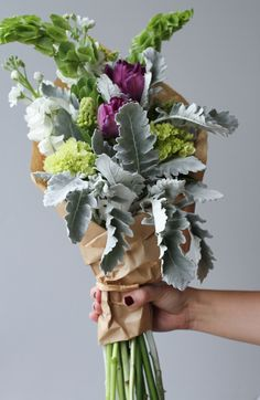 bouquet with tulips and dusty miller