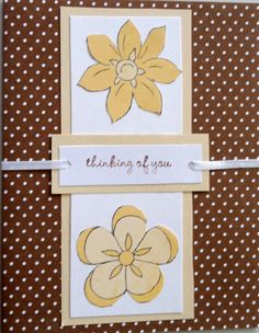 "The card is brown polka dot cardstock; a tan vertical strip topped with a cream strip. The flowers are cut out from another piece of floral paper and attached to the white strip. I made a small ""tag"" for the sentiment (cream on tan) and punched a hole in each end to run a narrow cream ribbon through. The ribbon is simply taped to the card and the edges cut off evenly..."