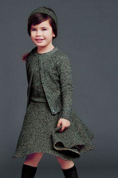 Outfit aus Wolle in Grau klein gemustert