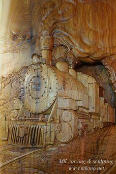 "Title: Antique Steam engine locomotive (shallow relief) Material: Western red cedar Size: W x H x D: 30"" x 56"" x1"" : 75cm x 140cm x 2.5cm"
