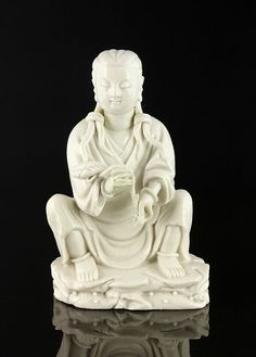 "Figure, China, late 18th or early 19th century, Blanc de Chine porcelain, marked on base, 5"" h x 3"" w."