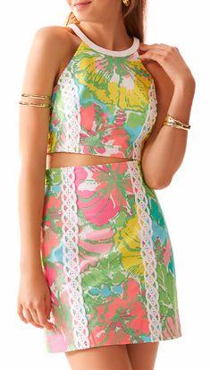 Lilly Pulitzer Vanna Crop Top & Skirt Set in Shorely Blue Big Flirt