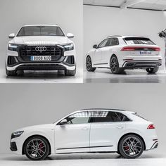 Te quero for this Audi spec - WHICH - color combo would you go for? black on white Now waiting for the Audi Espana / edit ---- oooo ---- . New Luxury Cars, Luxury Suv, Suv Cars, Sport Cars, My Dream Car, Dream Cars, Black Audi, Black Cars, Audi Q