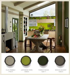 Add some color to your kitchen! Using a palette that all have the same undertone is a great way to use bright and neutral colors.   Clay Pebble 770D-4 Japanese Fern 400B-6 Forest Ridge 420F-7 Mocha Accent 720D-5