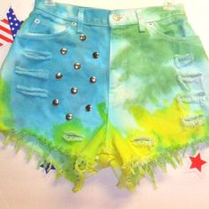 Vintage High Waisted TIE  Dyed  Denim Shorts - Studded ---Waist 26  inches