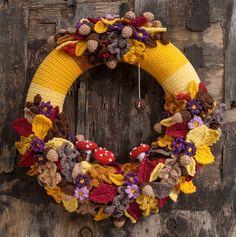 de Haakbaak, inspiratie Crochet Wreath, Crochet Fall, Holiday Crochet, Crochet Gifts, Irish Crochet, Diy Crochet, Crochet Flowers, Crochet Toys, Wreath Crafts