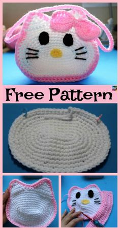 Cute Crochet Hello Kitty Purse – Free Patterns - Best DIY and Crafts 2019 Crochet Shark, Crochet Crocodile Stitch, Crochet Unicorn, Hello Kitty Crochet, Hello Kitty Purse, Cat Purse, Crochet Girls, Cute Crochet, Crochet For Kids