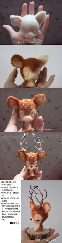 *NEEDLE FELTED ART ~ [Tutorial] wool felt:
