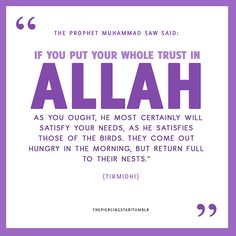 """thepiercingstar:  """"If you put your whole trust in Allah, as you ought, He most certainly will satisfy your needs, as He satisfies those of t..."""