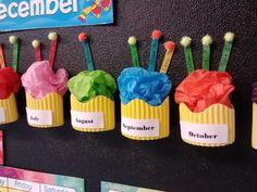 Cute Cupcake birthday bulletin board display for Kindergarten or Preschool Classroom Classroom Organisation, Preschool Classroom, Classroom Themes, In Kindergarten, Future Classroom, Classroom Birthday Displays, Classroom Board, Birthday Display In Classroom, Classroom Decoration Charts