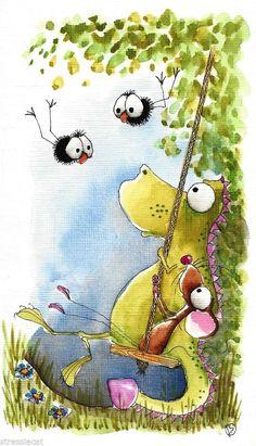 Original watercolor painting art illustration mouse dragon crow swing garden