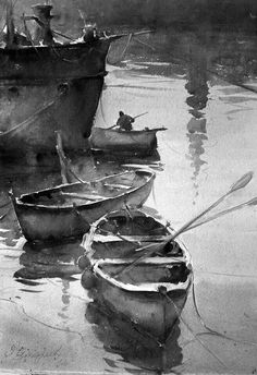 Image result for black and white art moon and boat