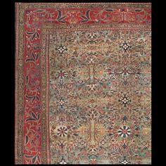 Sarouk - Farahan Rug - 21658 | Persian Formal Origin Persia, Circa: 1880  #antiquerug #rahmanan #persianrug #antiquerugstudio #nyc #greenrug #sarouk