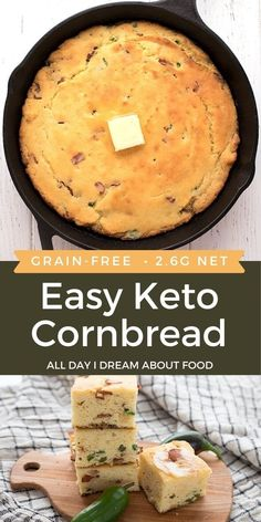 A delicious skillet keto cornbread that tastes like the real deal! Add crumbled bacon and chopped jalapeño for an amazing taste sensation. Lowest Carb Bread Recipe, Low Carb Bread, Keto Bread, Low Carb Keto, Low Carb Recipes, Cooking Recipes, Keto Friendly Bread, Low Carb Side Dishes, Foods To Eat