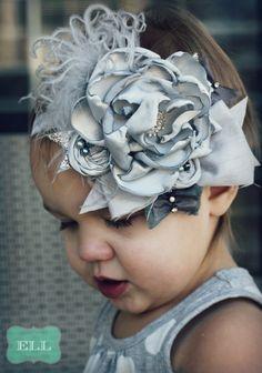 Moonlit Sky Headband Shabby Chic Vintage Gray Rosette Bow. $26.99, via Etsy.