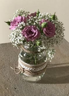 Chair/Pew Flowers with Baby's Breath & Roses Pretty wedding chair or pew a Wedding Flower Arrangements, Wedding Centerpieces, Wedding Flowers, Shower Centerpieces, Wedding Decorations, Mason Jars, Mason Jar Flowers, Mauve Wedding, Chic Wedding