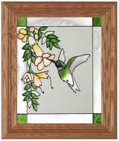 printable hummingbird stained glass | Hummingbird Yellow Flower Vine