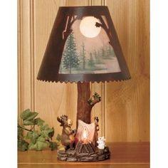Northwoods Decor Moose Campfire Scene Table Lamp