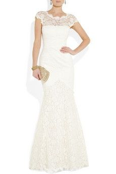 Lace wedding dress with short sleeves and modest crew neck - Temperley London. Love the lace!!