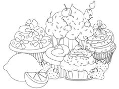 Cupcakes Pattern free printable adult coloring pages | Free ...