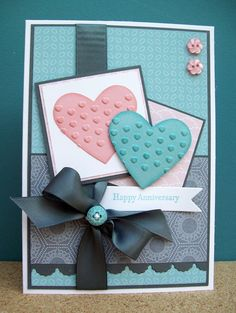 Stamps: Teeny Tiny Wishes Ink: Baja Breeze, Blushing Bride Paper: Twitterpated dsp, Whisper White, Basic Grey, Blushing Bride, Baja Breeze Tools: Heart punch, Adorning Accents embossing folder & die Accessories: Basic Grey satin ribbon, Twitterpated buttons