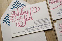 Pink and Navy wedding invitations, chevron wedding invitations, letterpress
