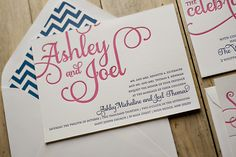 Pink and Navy wedding invitations, chevron wedding invitations, letterpress