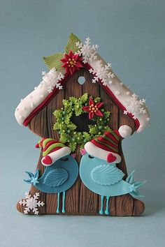 Christmas bird house cookie