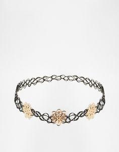ASOS+Gold+Flower+Tattoo+Choker+Necklace